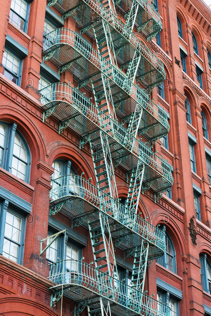 Fire escapes on buildings in Soho, New York, USA