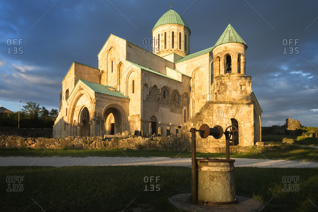 Bagrati Cathedral (Cathedral of the Dormition) (Kutaisi Cathedral) at sunset, UNESCO World Heritage Site, Kutaisi, Imereti Region, Georgia, Caucasus, Asia
