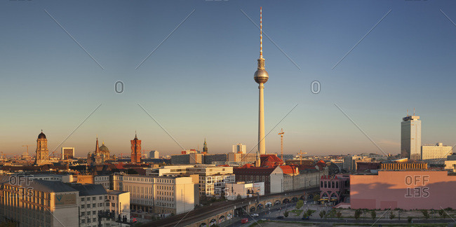 Berlin, Germany - August 25, 2016: View over Alexanderstrasse to TV Tower, Rotes Rathaus (Red Town Hall), Hotel Park Inn and Alexa shopping center