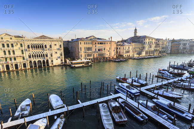 Veneto, Italy - January 14, 2017: Ca D'Oro, famous Venetian Palace on Grand Canal, elevated view after snow, Venice, UNESCO World Heritage Site, Veneto, Italy, Europe