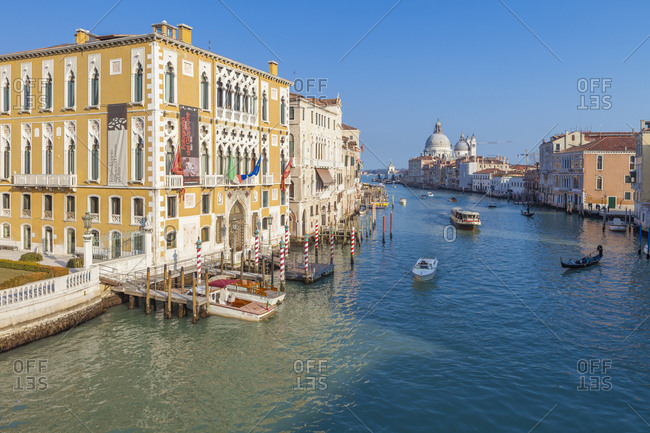 Veneto, Italy - February 18, 2012: View of the old Palazzo Cavalli Franchetti overlooking the Canal Grande (Grand Canal), Venice, UNESCO World Heritage Site, Veneto, Italy, Europe