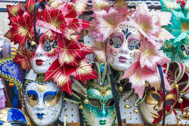 Colorful masks of the Carnival of Venice, famous festival worldwide, Venice, Veneto, Italy, Europe