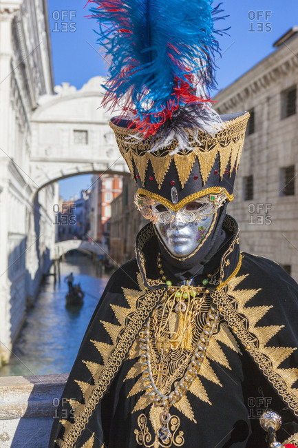 Colorful mask and costume of Carnival of Venice, Venice, Veneto, Italy, Europe