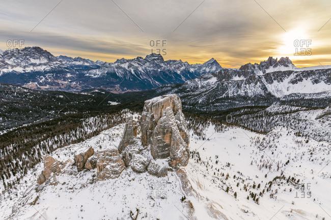 Aerial view of the snowy ridges of the Cinque Torri at dawn, Dolomites, Cortina d'Ampezzo, Province of Belluno, Veneto, Italy, Europe