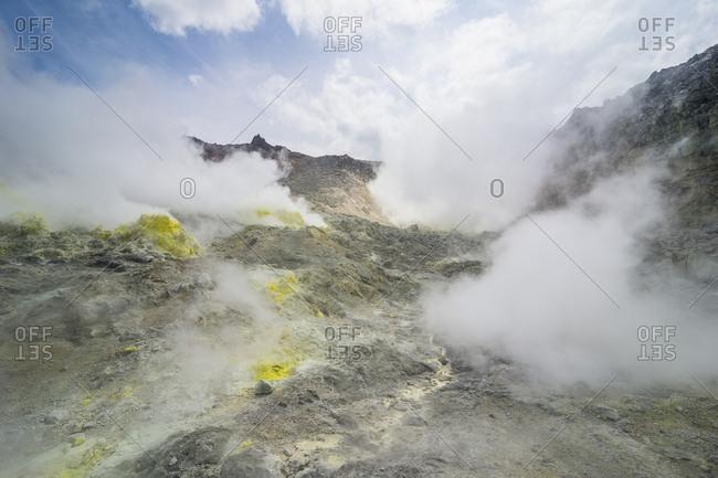 Sulphur pieces on Iozan (sulfur mountain) active volcano area, Akan National Park, Hokkaido, Japan, Asia