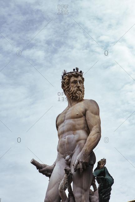 Florence, Italy - May 8, 2016: Fountain of Neptune, Piazza della Signoria
