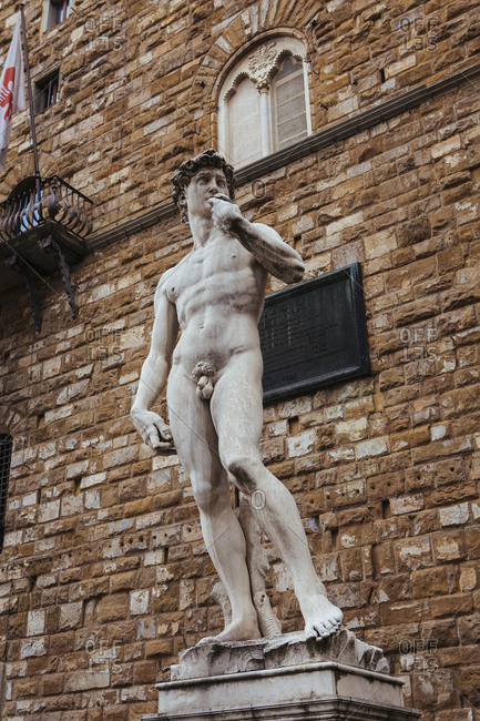 Florence, Italy - May 8, 2016: Replica statue of David, Piazza della Signoria
