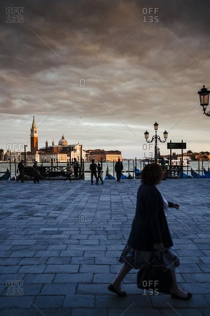 Venice Italy -  September 28, 2015: Person walking near Saint Mark's Basilica