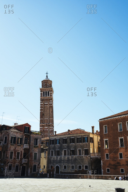 View of San Maurizio tower from Campo San Anzolo, Venice, Italy