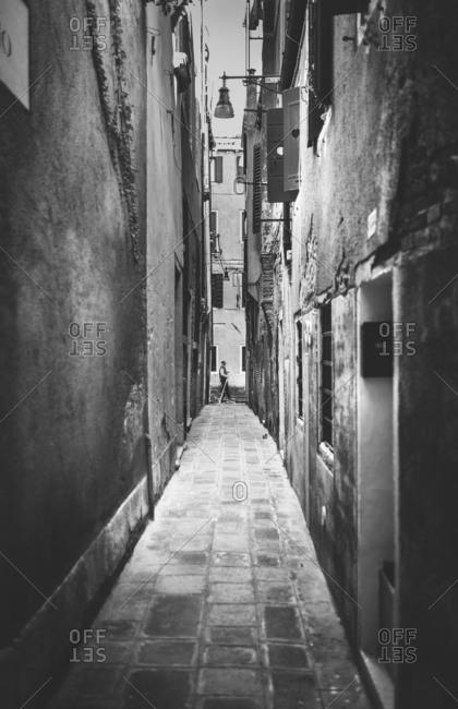 View of gondola from narrow street, Venice, Italy