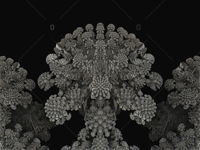 Mandelbulb fractal close-up. Computer-generated image of a three-dimensional analogue derived form a Mandelbrot Set using spherical coordinates.