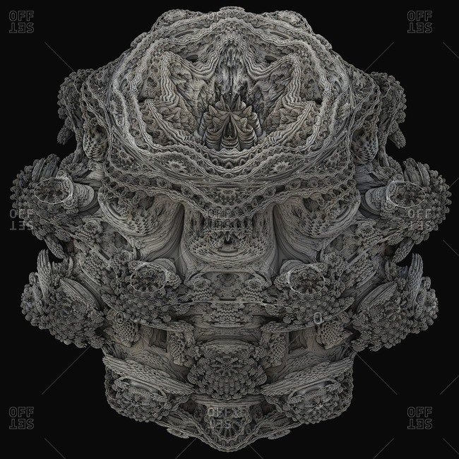 Mandelbulb fractal. Computer-generated image of a three-dimensional analogue derived form a Mandelbrot Set using spherical coordinates.