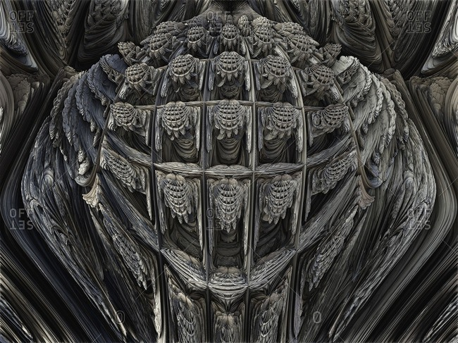 3D fractal close-up. Computer-generated image of a three-dimensional fractal.