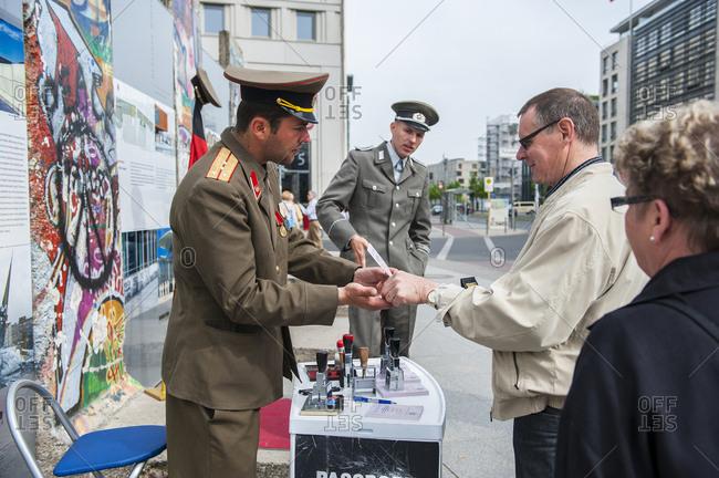 Potsdamer Platz, Berlin, Germany - 4/28/09 : Memorial of the Berlin Wall.