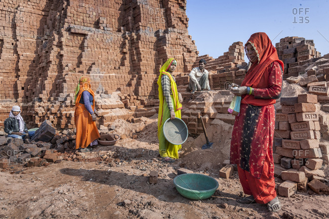 Madhya Pradesh, India - 2/3/13: Brick factory near the town