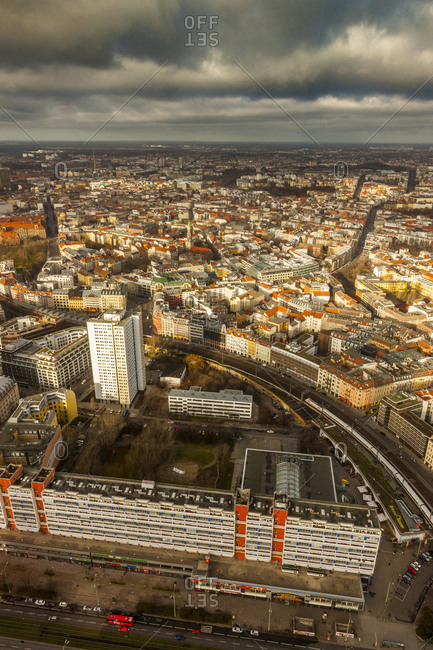 Berlin, Germany - 1/12/14: View of the town from the tower of Alexanderplatz