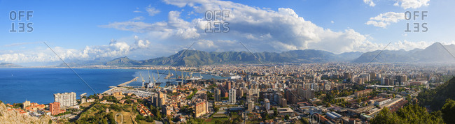 Palermo, Sicily, Italy - 5/15/14: View of the town from Monte Pellegrino