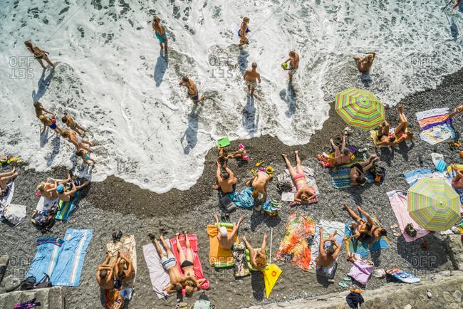 Comgli, Liguria, Italy - 8/21/14: The beach of Camogli