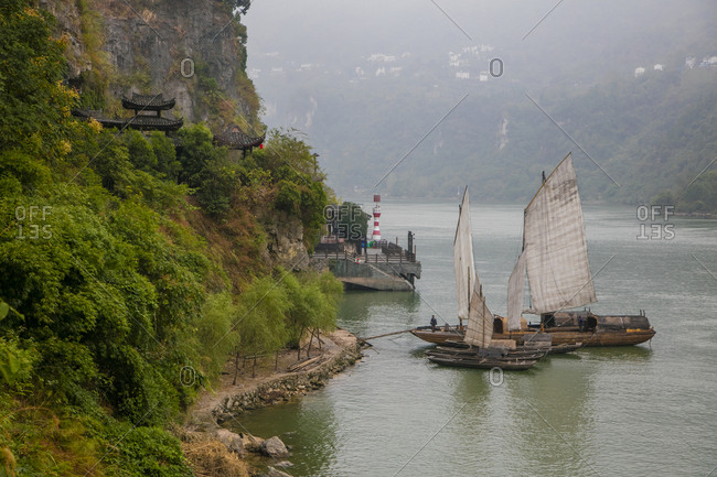 Yangtze River, China - October 13, 2016: Sailing Chinese Junk Boat, Shennong Stream, Hubei Province, Yangtze River, China