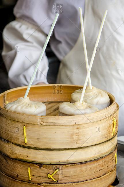 Xiao long bao (steamed dumpling) in Chenghuang Miao (City God Temple), Shanghai, China.