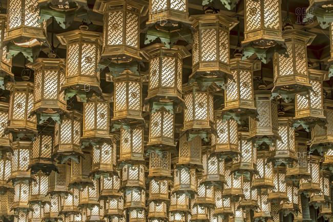 Japan, Hiroshima, Miyajima, Daisho-in Temple, Hakkaku Manpuku Hall, Lanterns