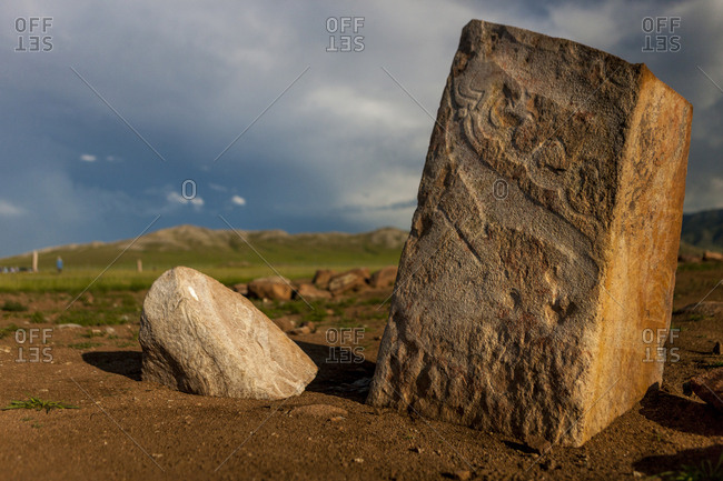 Deer stones with inscriptions, 1000 BC, Mongolia.