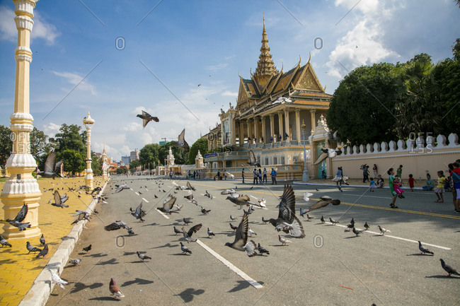 Phnom Penh, Cambodia - October 3, 2016: Royal Palace and National Museum. Phnom Penh, Cambodia