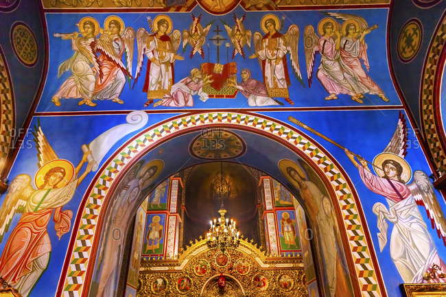 Kiev, Ukraine - April 18, 2015: Ancient mosaics, golden screen icons. Saint Michael Monastery, Kiev, Ukraine. Original monastery was created in the 1100s.