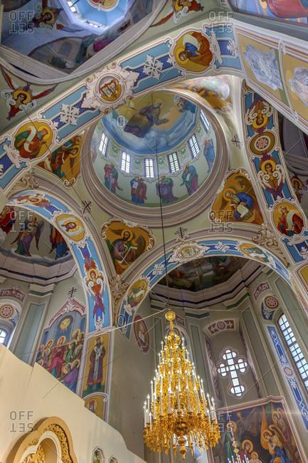 Kiev, Ukraine - April 18, 2015: Saint George Cathedral Vydubytsky Monastery, Kiev, Ukraine. Vydubytsky Monastery is the oldest functioning Orthodox Monastery in Kiev.
