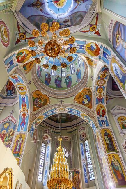 Kiev, Ukraine - April 18, 2015: Saint George Cathedral, Vydubytsky Monastery, Kiev, Ukraine. Vydubytsky Monastery is the oldest functioning Orthodox Monastery in Kiev.