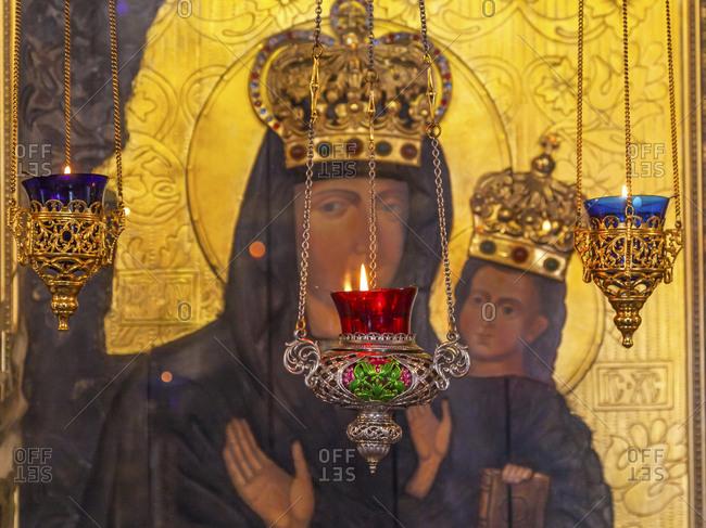 Kiev, Ukraine - April 18, 2015: Incense burners. Saint Nicholas Church, Askold's Grave, Kiev, Ukraine. Ukrainian Greek Catholic Church created 1810