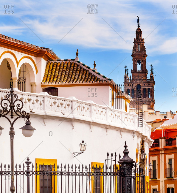 Bullring Stadium. Giralda Spire Bell Tower, Seville Cathedral, Andalusia, Spain