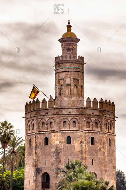 Torre del Oro. Old Moorish military watchtower, Seville, Andalusia, Spain. Built in the 1200s, One of the oldest buildings in Seville. Prison in the Middle Ages.