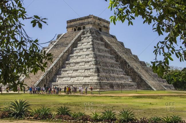Chichen Itza, Mexico. - April 6, 2016: UNESCO World Heritage Site, Ancient step pyramid Kukulkan at Chichen Itza, Mexico.