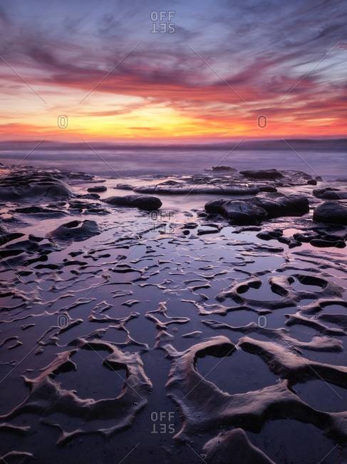 USA, California, La Jolla, Sunset at Coast Boulevard Park