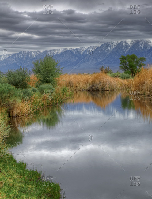 USA, California, Sierra Nevada Mountains. Stormy spring day in Owens Valley.