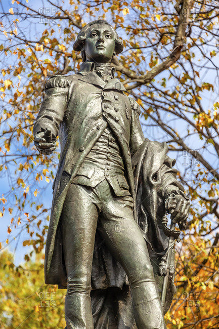 General Marquis de Lafayette Statue, Lafayette Park, Washington DC. Statue was dedicated in 1891 as a reaffirmation of French American relations. Sculptor Jean Falguiere.