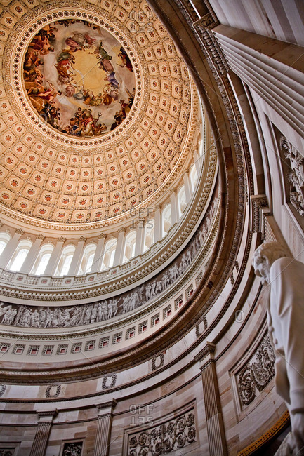 Lincoln Statue Rotunda, US Capitol Dome. Apotheosis of George Washington, Washington DC. Painted by Constantino Burundi 1865