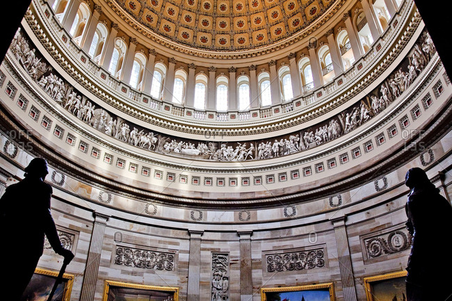 Rotunda, US Capitol Dome and statues, Washington DC. Painted by Constantino Burundi 1865