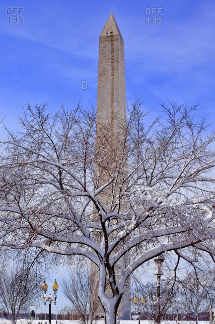 Washington Monument after the snowstorm, Washington DC