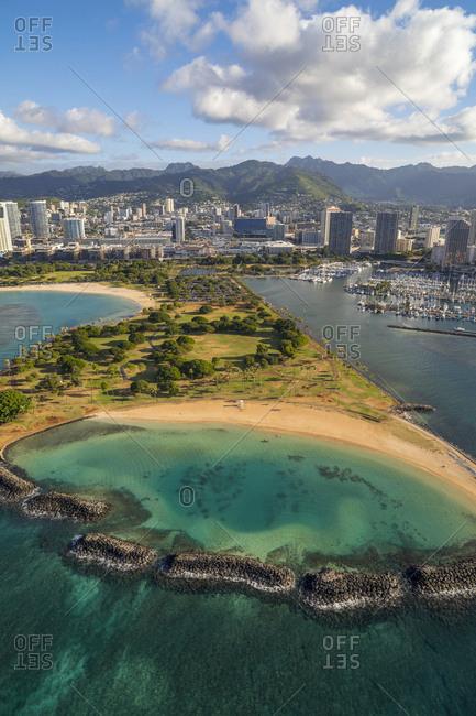 Oahu, Hawaii - January 0, 1900: Magic Island, Ala Moana Beach Park, Oahu, Hawaii