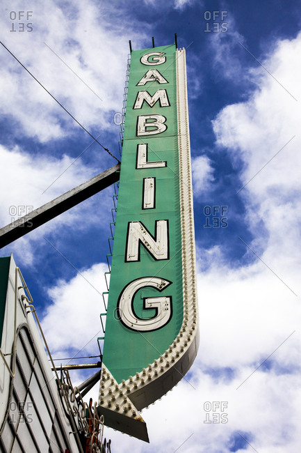 Gambling neon sign, Las Vegas, Nevada, Usa.