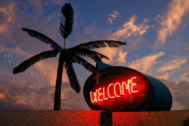 Neon welcome sign at sunset, Wildwood, New Jersey, Usa