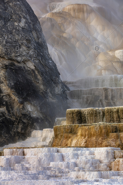 Section of the Mammoth Hot Springs, Main Terrace, Yellowstone National Park, Wyoming, USA