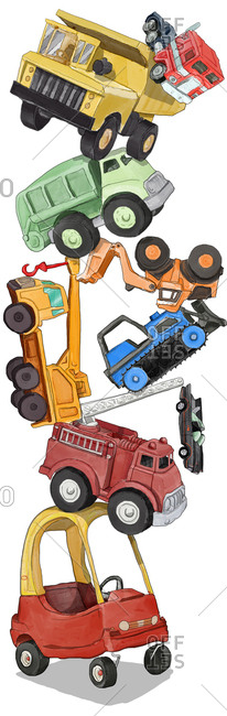 A variety of truck toys