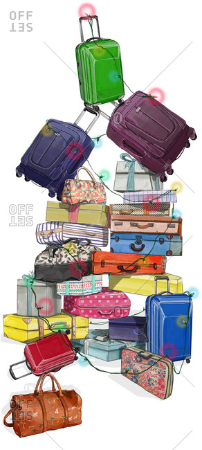 Suitcases and gifts in pile