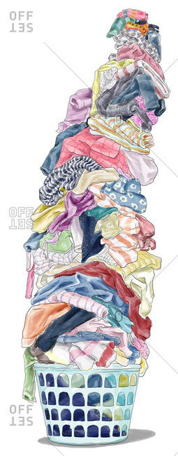 Big laundry stack in basket