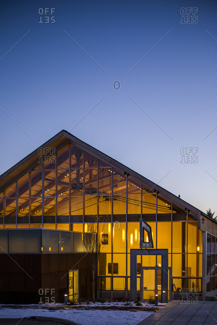 Lyle, Washington - January 4, 2017: Blue Heron Arts Center exterior