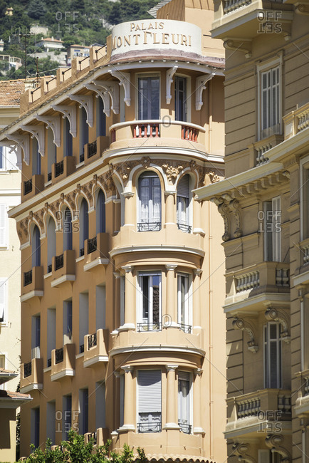 Rounded corner of an historic hotel building in Monte Carlo