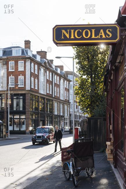 London, United Kingdom - November 2, 2016: Sign at the Nicolas wine shop in Kensington